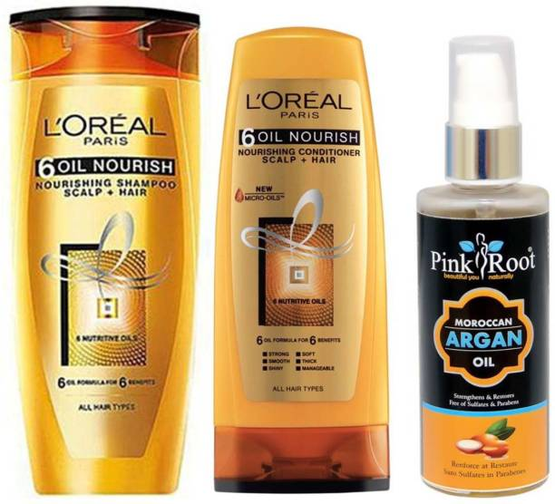 PINKROOT ARGAN OIL 100ML WITH LOREAL 6 OIL NOURISH SHAMPOO AND CONDITIONER