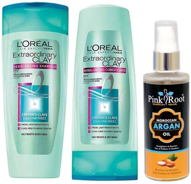 PINKROOT ARGAN OIL 100ML WITH LOREAL EXTRAORDINARY CLAY SHAMPOO AND CONDITIONER