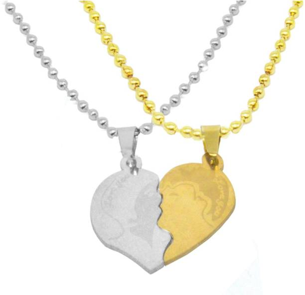 Men Style Romantic Stainless Steel Couple Pair Lovers Splice Kiss Love You Heart Locket With Chain Gold-plated Stainless Steel Pendant Set