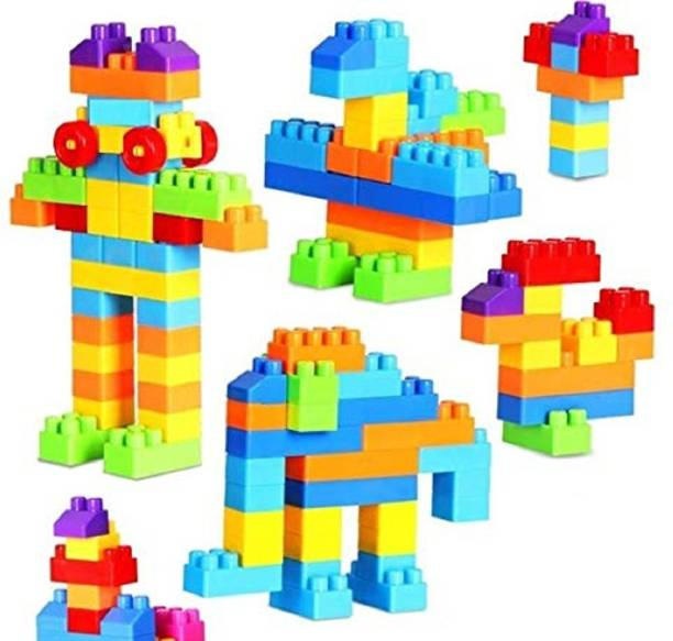 FunBlast Building Blocks for Kids with Wheel, Bag Packing, Best Gift Toy, Multicolor (Set of 50 Pcs)