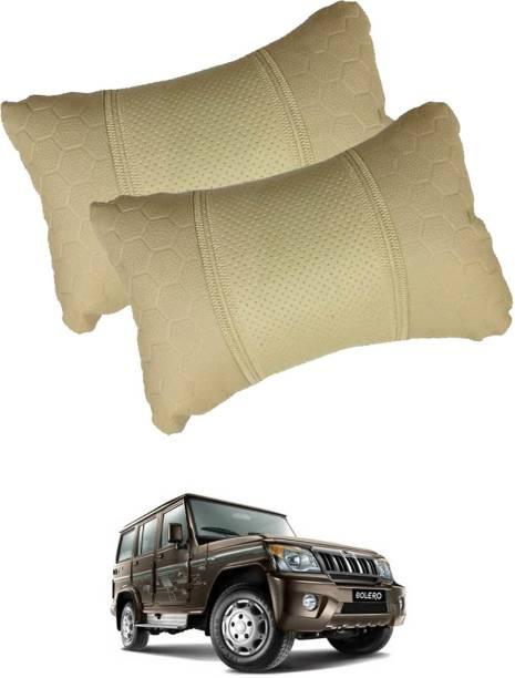 VOCADO Beige Leatherite Car Pillow Cushion for Mahindra