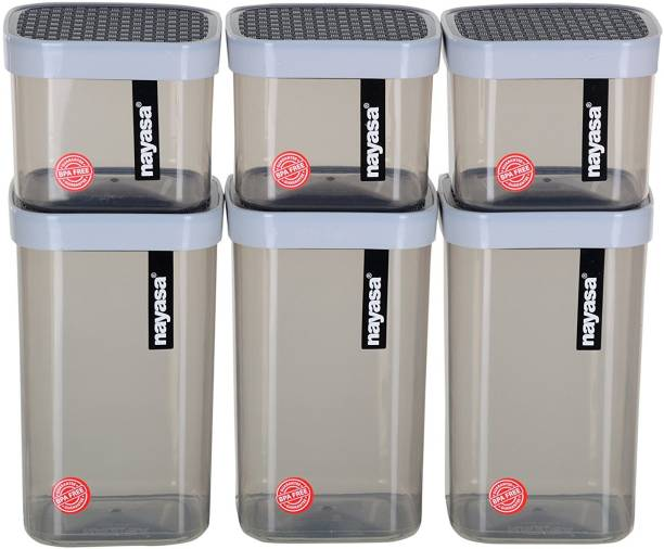 NAYASA Superplast Plastic Fusion Container Set of 6, Grey  - 1500 ml, 750 ml Plastic Grocery Container