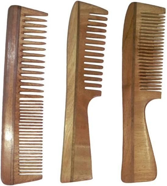 BLITHE Neem Wood Combs (Regular detangler + regular handle+ detangler handle)