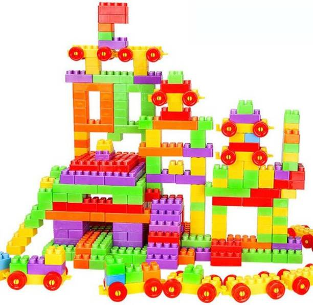 kluzie 100 Pcs Building Blocks,Creative Learning Educational Toy For Kids Puzzle Assembling Building Unbreakable Toy Set