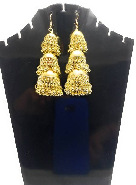 db5be57c0 Tiank Innovation Traditional Ethnic One Gram Gold Plated Triple Layer  Designer Jhumki Earring for Women &