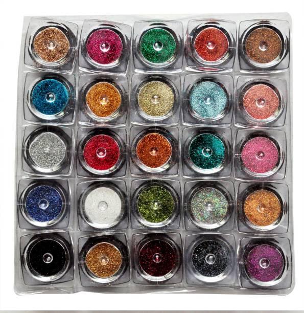 VOZWA Colourful Sparkles Amazing Nail Art Glitter Powder 25 Pcs (Multicolor)