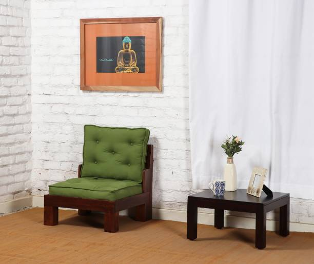 The Jaipur Living Wooden Fabric 1 Seater  Sofa