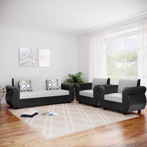 Bharat Lifestyle Ozone fabric and Leatherette 3 + 1 + 1 Black Grey Sofa Set
