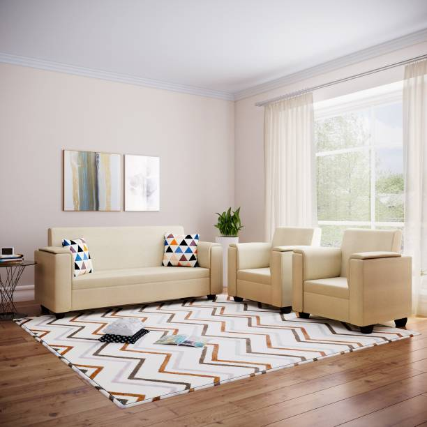 Bharat Lifestyle Galaxy Fabric 3 + 1 + 1 Cream Sofa Set