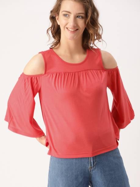 Dressberry Casual Cold Shoulder Solid Women Orange Top
