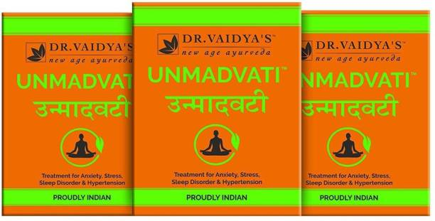 Dr. Vaidya's Unmadvati Pills - Ayurvedic and Natural Treatment for Anxiety, Stress, Sleep Disorder & Hypertension - Pack of 3