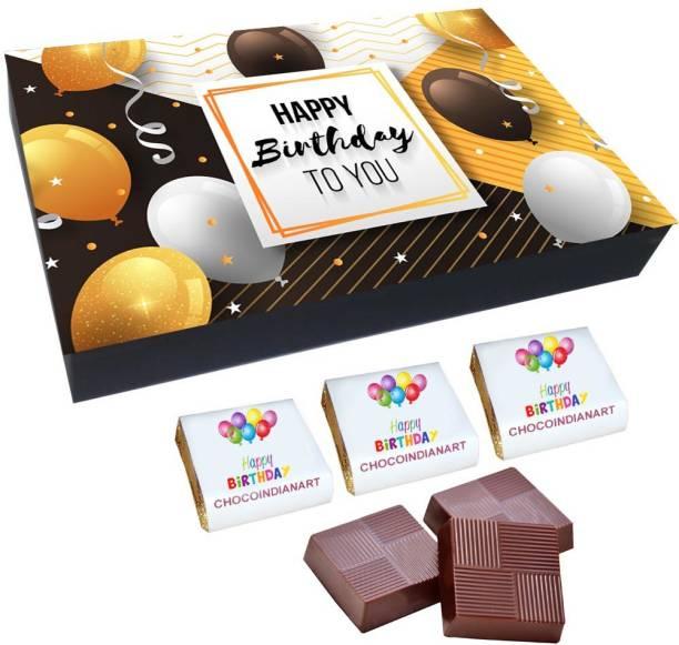 CHOCOINDIANART Unique Idea Happy Birthday, 12pcs Chocolate Gift Box, Truffles