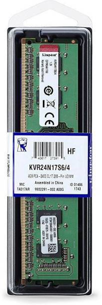 KINGSTON 4GB PC4 - 2400 CL17 288 - Pin UDIMM DDR4 4 GB (Dual Channel) PC (KVR24N17S6/4)