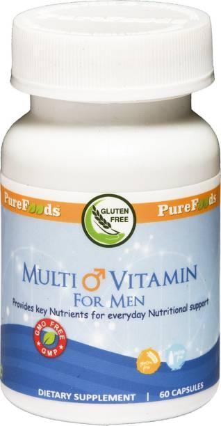 PureFoods Multi Vitamin for Men, 60 Capsules (Gluten Free and Lactose Free)