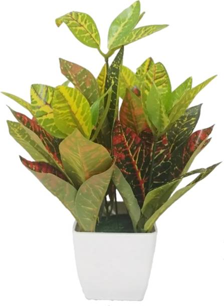 BK Mart Croton Artificial plants, Best for Home Office or Gift with Pot Bonsai Artificial Plant  with Pot