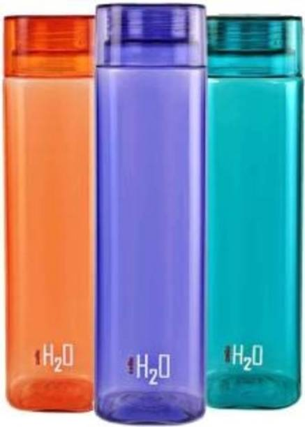 cello H2o Squaremate Water Bottle, 1000 ml , Set of 3, multi color (Pack of 3, multi) 1000 ml Bottle