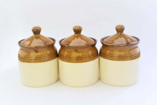 edgen EDgen Ceramic Handmade Pickle Jar Set with Lid, Dining Table Pickles Containers (Set of 3) 3 Piece Spice Set
