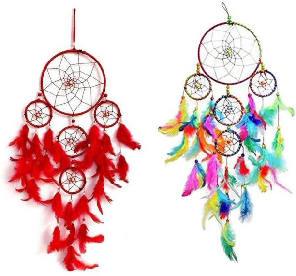 Ryme Pack Of (2) 5 Ring Red & 5 Ring Multi Dream Catcher Decorative Showpiece  -  55 cm