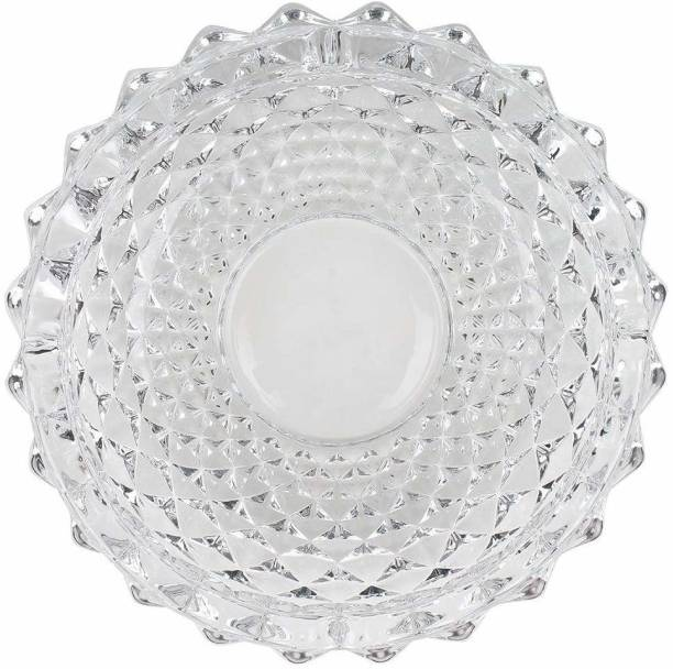 ESAANVIKA Round Glass Ashtray for Smoking, Smokers, Indoor and Outdoor Decorative Ashtray White Glass Ashtray Clear Glass Ashtray