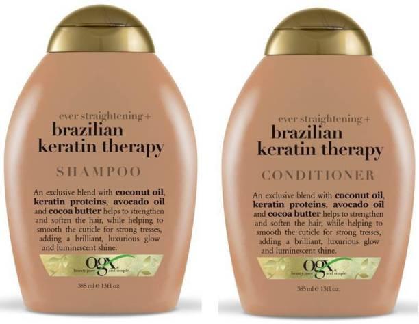 ogx Ever Straight Brazilian Keratin Therapy Shampoo & Conditioner 770ml