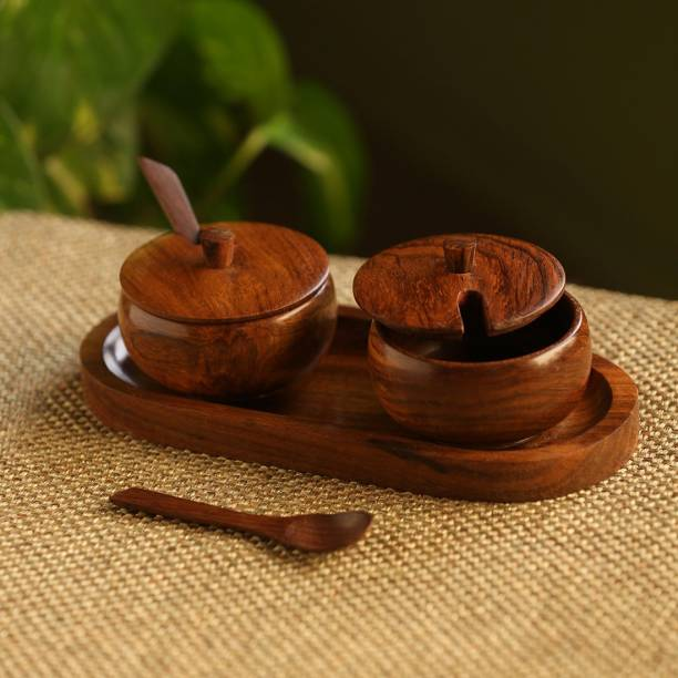 ExclusiveLane 'Wood Pot Belly' Handcrafted Wooden Refreshment Jars And Tray 2 Piece Spice Set