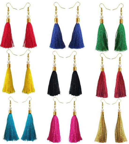 287c46cee238a2 Rich & Famous Stylish Multicolor Small Tassel Earring Metal Tassel Earring