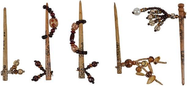 Rapunzel Set of 5 Wooden Juda Pin Bun Stick