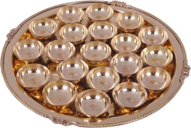 Shivshakti Arts Handmade Pure Set of 20 Brass Diya Pooja Thali Set 21 pcs (1 Pooja Thali Embossed karvi Designed +20 Brass diyas) for Diwali Laxmi Poojan Navratri Poojan Diwali Lighting Diwali diyas Brass