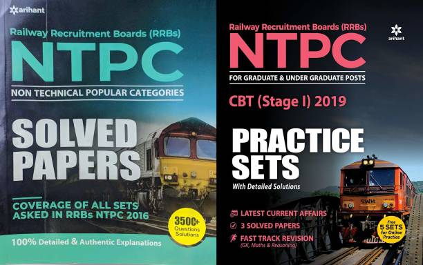 COMBO PACK OF ARIHANT NTPC SOLVED PAPERS 3500+ QUESTIONS SOLUTIONS WITH 30 Practice Sets RRB NTPC CBT FOR 2019 EXAMINATION