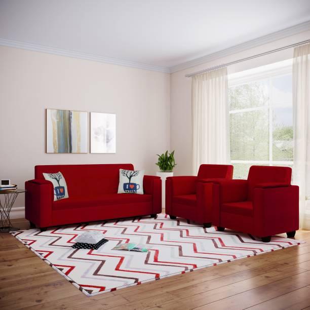 Bharat Lifestyle Galaxy Fabric 3 + 1 + 1 Red Sofa Set
