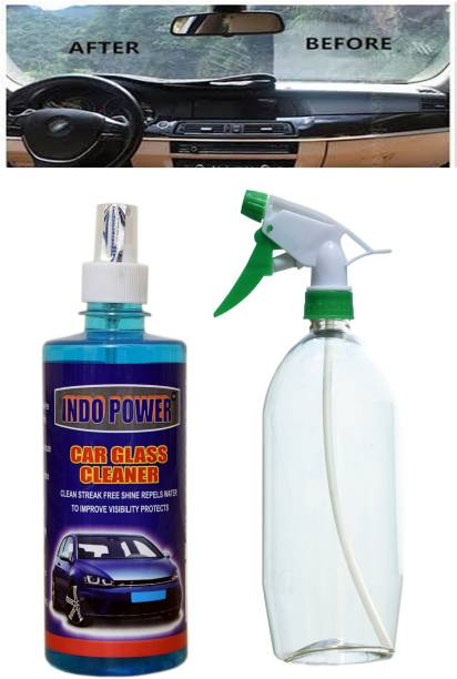 INDOPOWER CAR GLASS CLEANER 500ml. + Multipurpose Car Wash Bottle Green Nozzle Spray . Car Washing Liquid