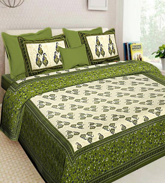 Vaibhav Cart 144 TC Cotton Double Paisley Bedsheet