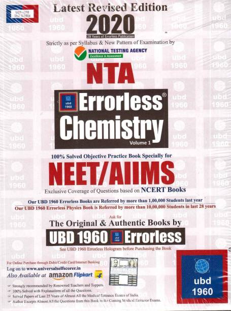 Ubd 1960 Errorless Chemistry for Neet/Aiims Latest 2020 Edition as Per Examination by Nta