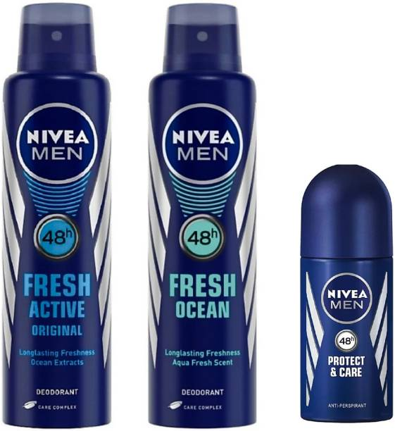 NIVEA Men Fresh Active Deo, Fresh Ocean Deo & Protect & Care Roll On