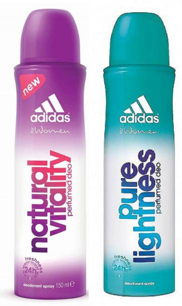 ADIDAS Natural Vitality and Pure Lightness Deodorant Body Spray for Women 150ML Each (Pack of 2) Deodorant Spray  -  For Women