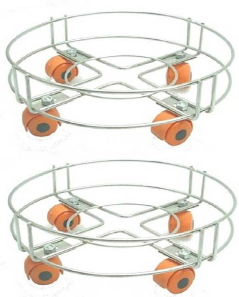 kanyka Pack of 2 Cylinder Trolley with Wheels / Gas Trolly Gas Cylinder Trolley