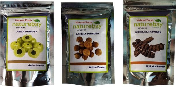 NatureBay Naturals 100% Pure Amla + Reetha + Shikakai Powder - Combo Pack of 3