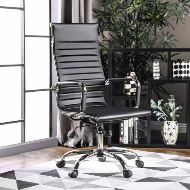 Finch Fox PU Leather Revolving High Back Desk Chair with Arms ,Plating (Standard,Black) Leatherette Office Arm Chair
