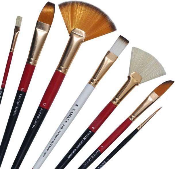 KAMAL Artist Quality Mix Brush Set for Acrylic Painting, Oil Painting, Modern Art Painting