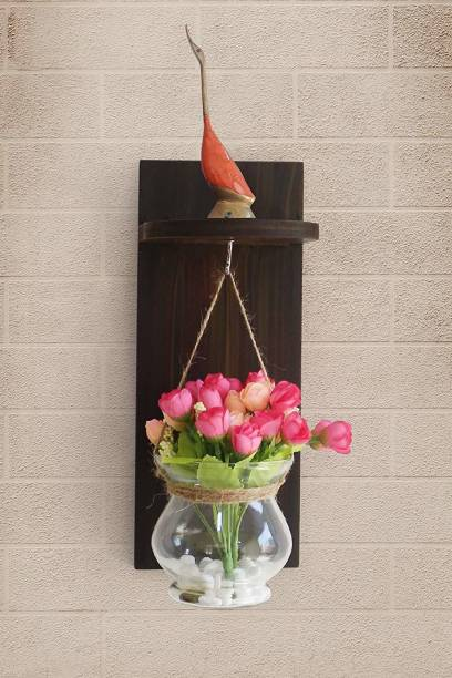 TIED RIBBONS Wood Wall Shelf with Flower Vase and Artificial Flowers for Home Decoration Multicolor Rose Artificial Flower  with Pot