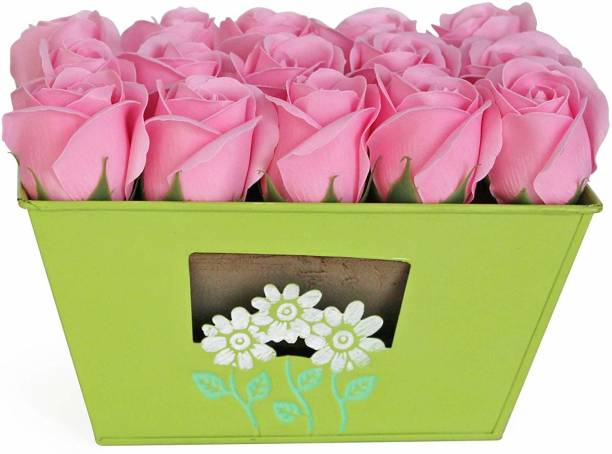 TIED RIBBONS Décorative Basket with Faux Rose for Side Corners, Bedroom, Dining Room Green Rose Artificial Flower  with Pot