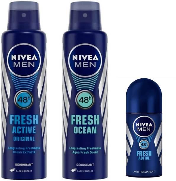 NIVEA Men Fresh Active, Fresh Ocean Deo & Fresh Active Roll On