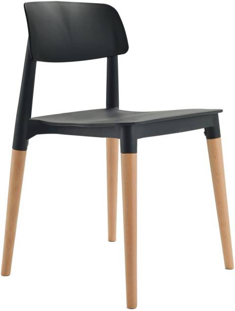 Finch Fox Bella Dining Chair/Cafeteria Chair/Cafe Chair/Armless Side Chairs Molded ABS Plastic with Wood & American Mid-Century Styling (Black) Engineered Wood Dining Chair