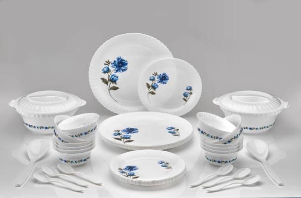 dev enterprise Pack of 36 Plastic Pack of 36 PP (Polypropylene) Microwave Safe Plastic Dinner Set for Kitchen-36 Pcs (Printed Round - White Blue) Dinner Set (Microwave Safe) Dinner Set