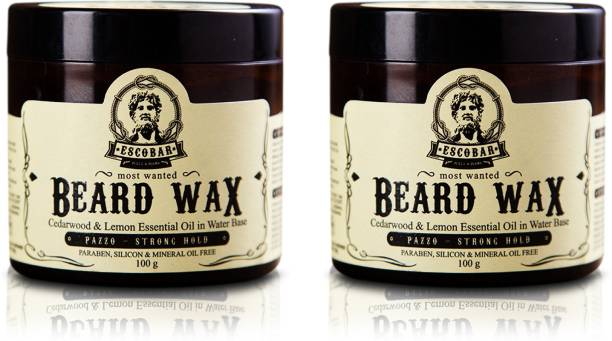 ESCOBAR Men's Beard Wax {Paraben & Mineral Oil Free ( Pack of 2) (100g each) Hair Wax
