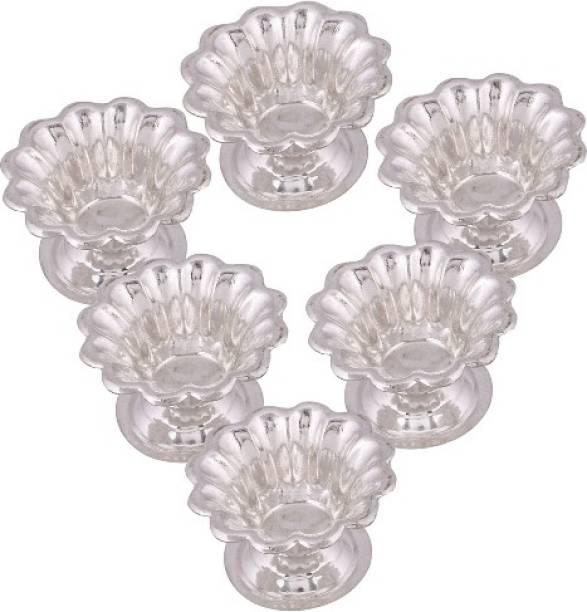 Empire Gift Silver Plated Deepak Set ,Pooja Thali Set,Diya set of 6 pcs Silver Plated