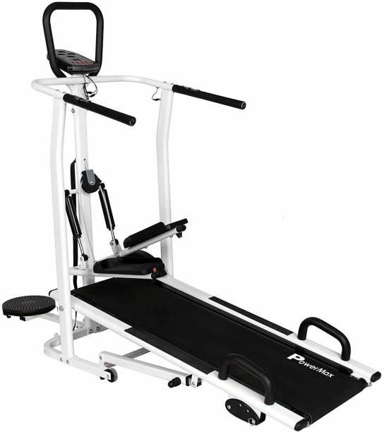 Powermax Fitness MFT-410-4 in 1 Multifunction Manual Treadmill with Jogger, Stepper, Twister & Push Up Bar Treadmill