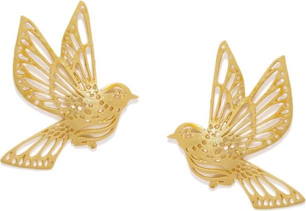 ZAVERI PEARLS Sparrow Design Zinc Stud Earring