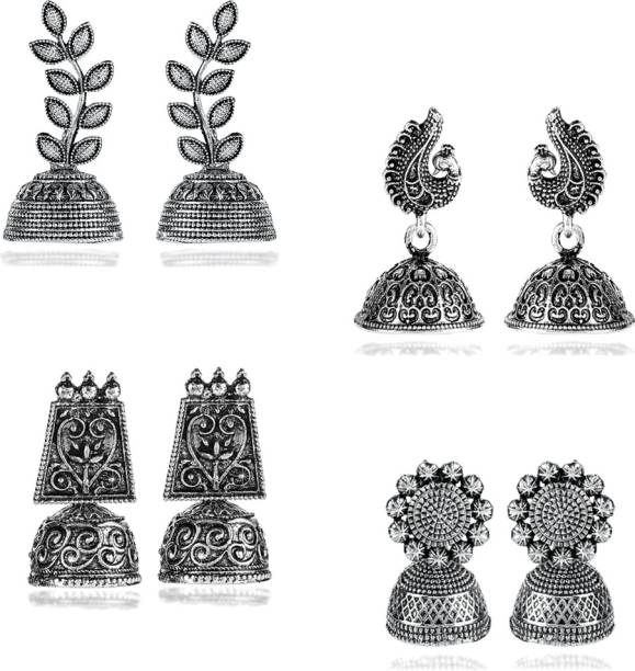 3acd3d50a Yellow Chimes Stylish COMBO Pairs Silver Oxidized Designer Traditional  Jhumka Earrings Brass Jhumki Earring