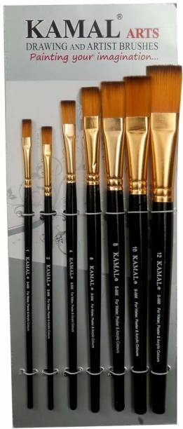 KAMAL Flat Artist Quality Painting Brush Golden/Black Taklon
